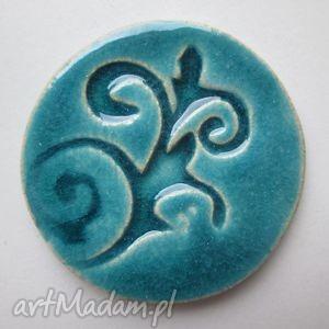 turkusowa magia - ceramiczna, broszka