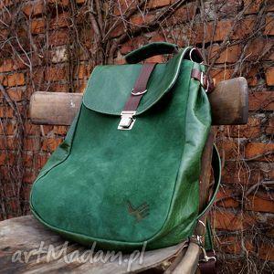 plecaki lilith plecak torba zielona skóra, pullup, zieleń, naturalna