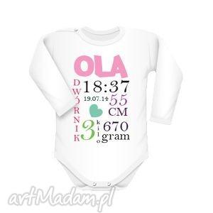body z danymi narodzin, body, indywidualne, narodziny, text, longsleeve, napis