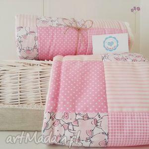 pokoik dziecka kocyk podusia gratis minky patchwork, różowy świnki