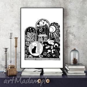tęsknota za domem ilustracja, dom, nostalgiczny, plakat, czarnobiały