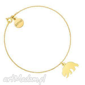sotho złota bransoletka z niedźwiedziem, bransoletka, złoto, niedźwiedź, miś