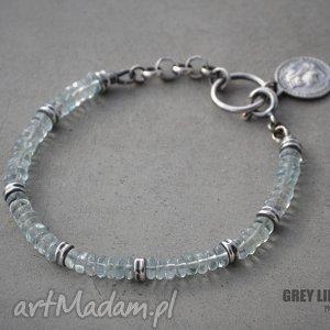 Akwamaryn heishi bransoletka, srebro, 925, akwamaryn