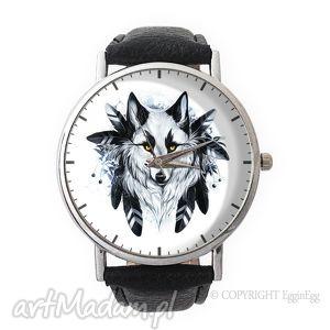 wilk - skórzany zegarek z dużą tarczą, zegarek, skórzany, wilk, prezent, wilkiem