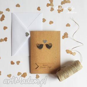 zaproszenia ślubne eko ptaszki eco brokat vintage z papieru ekologiczngo, zaproszenie
