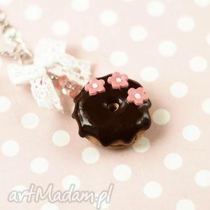 naszyjniki naszyjnik pączek donut czekoladowy, naszyjnik, donut, pączek, czekoladowy