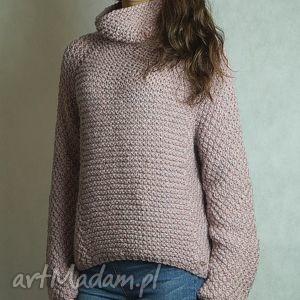 swetry różowy z alpaką, sweter, pudrowy, golf, alpaka, półgolf