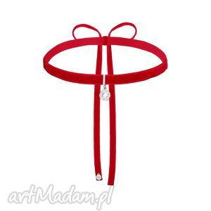 naszyjniki czerwony aksamitny choker ze srebrną rozetką, modny, choker, aksamitka