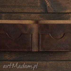 handmade portfele bifold brązowy