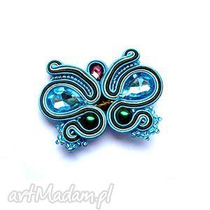 broszki broszka motyl z kryształkami w technice sutasz, motyl, broszka, kryształki