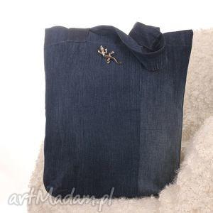 Dżinsowa torba na zakupy - torba, jaszczurka, denim, jeans, ekologiczna