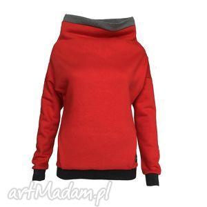 czerwona bluza z kieszonką, kominem i gumą brokatową, czerwonabluza, gumabrokatowa