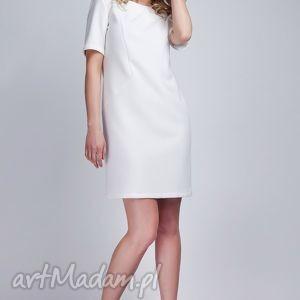 sukienka, suk118 ecru, dekolt, krzyż, biała, midi, komunia sukienki