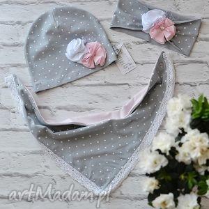 czapki cienki wiosenny komplet dla dziewczynki czapka, komin, opaska, opaska