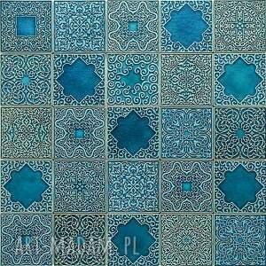 kafle turkusowe arabeski zestaw I, kafle, dekory, płytki, ścienne, handmade, kuchnia