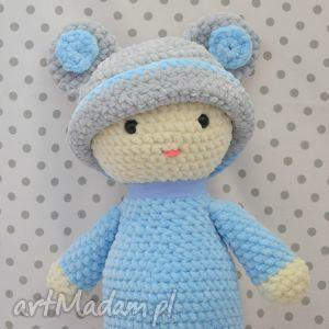 szydełkowa lalunia dzidziunia błękit, maskotka, lalka, lala, szydełkowa, niebieska