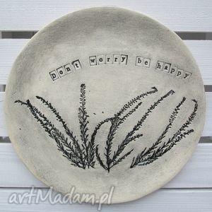 ceramika optymistyczna patera z wrzosami, patera, ceramiczna, motto, roślinna, talerz