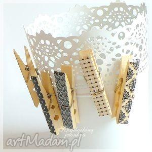 wyjątkowy prezent, magnesy klamerki - magnesy, klamerki, kratka, kropki