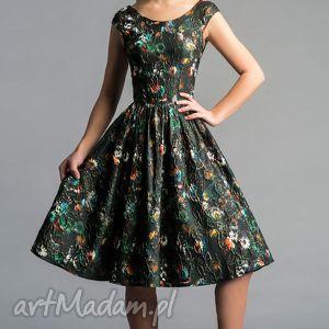 sukienki sukienka scarlett marszczona midi tatiana, rozkloszowana, błyszcząca, tiul