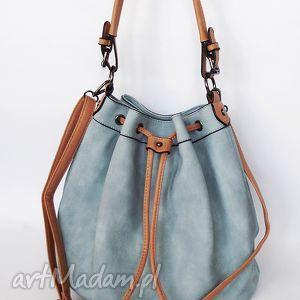 torebka na ramię ściągana- niebieska - torba, torebka, ekoskóra