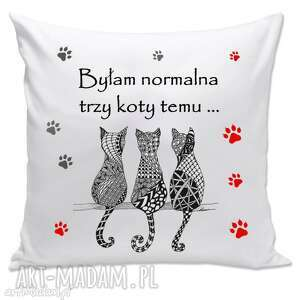 poduszki poduszka - byłam normalna trzy koty temu, poduszka, koty, kociarz, prezent