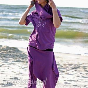 spodnie violet -komplet, spodnie, capri, alladyny, bluza, komin, spodium, pod choinkę