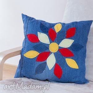 poduszki poduszka z aplikacją w listki, poduszka, jeans, recykling, aplikacja