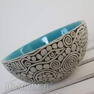 designerska turkusowa, turkus, miska, ceramiczna, nowoczesna, misa, dekoracyjna