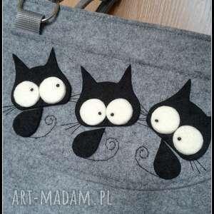 duza torba z kotkami, catoo, prezent, torba, kot, filc torebki, święta