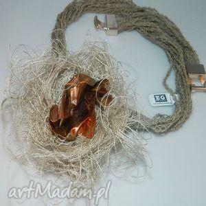 miedziany naszyjnik, słowiański, jedwab, artystyczny, naszyjniki