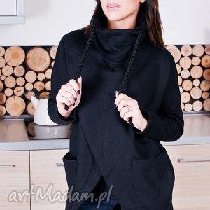 bluzy modna damska czarna asymetryczna bluza z kominem sznurkami , redmasterclothes