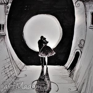 Klimatyczna grafika piórkiem Zakochani , grafika, rysunek, zakochani, księżyc, kot