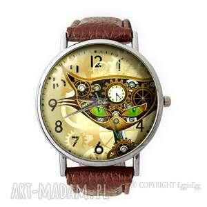 steampunkowy kot - skórzany zegarek z dużą tarczą - steampunk, kot
