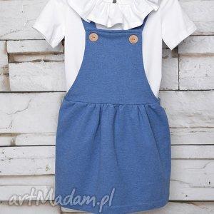 Sukienka ogrodniczka BLUE 104-128, szelki, ogrodniczka, elegancka