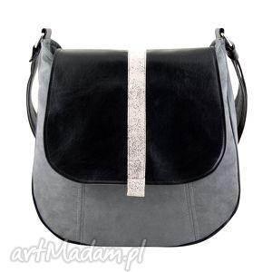 sashka - torebka na ramię czerń i nakrapiana biel, listonoszka, wygodna, praktyczna