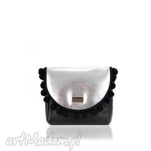 na ramię torebka mini puro 840 silver vintage, mini, skórzana, elegancka, srebrna