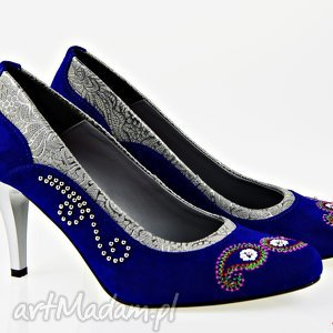 buty szpilki nieba aksamit , folk, ludowe, góralskie, haftowane, naturalne, handmade