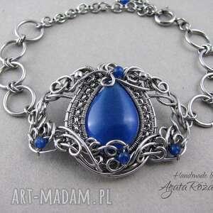 bransoletki bransoletka z niebieskim kocim okiem, wire wrapping, stal chirurgiczna