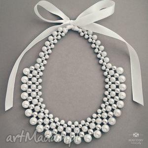 nina, ślub, komunia, perły, wstążka, korale, akryl naszyjniki biżuteria
