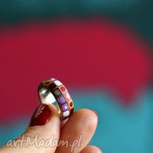 Stalowa obrączka z polymer clay, obrączki, pierścionki, geometryczne, kolorowe, retro