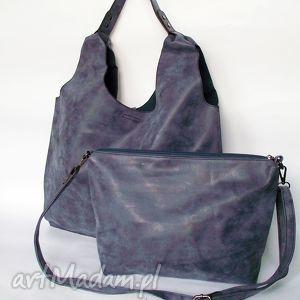 XL granatowa torba na ramię, torba, torebka