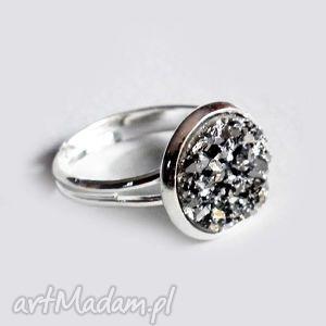 DRUZY SREBRNE- śliczny błyszczący pierścionek, posrebrzany, srebrny, pierścioneczek