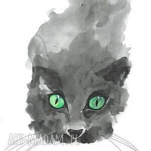 grafika malowana akwarelami kot, grafika, rysunek, oczy, zwierzęta, akwarele
