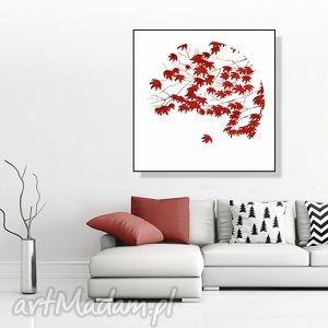 w jesiennym listowiu 30x30 cm , liście, grafika, kwadrat, 30x30, plakat, natura dom