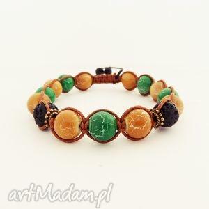 brown and green, bransoleta, męska, unisex, makrama, zkoralików