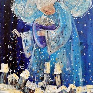 marina czajkowska śnieg nad miastem, śnieg, zima, anioł, śnieżyca, miasto, prezent