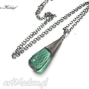 green quartz - naszyjnik - kwarc, srebro