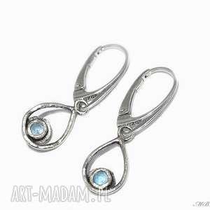 wyjątkowy prezent, topaz, kolczyki, srebrne, delikatne, wiszące biżuteria