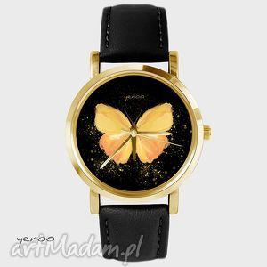 yenoo zegarek - żółty motyl czarny, skórzany, złoty, zegarek