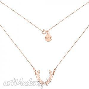 naszyjnik z liściem laurowym różowego złota, modny, naszyjnik, liście, laurowe